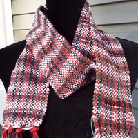 Handwoven Cotton Scarf in Black and Red