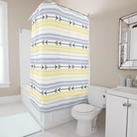 Arrows Stripes Pattern Yellow and Grey Shower Curtain