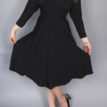 Rare 1950s Traina-Norell Black Dinner Dress Party Vintage Cocktail Gown Elegant Vogue Couture Fitted Silk 1940s Marilyn Monroe Size Small