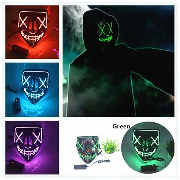 EL Wire Mask Light Up LED Flashing Vendetta Face Mask For Halloween Party Concert Scary Party Theme Cosplay Masks