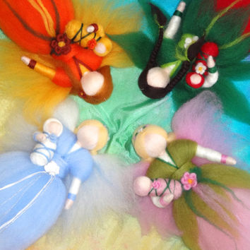 Four Season Fairies, needle felted, nature table, Waldorf, Seasonal table, Flower Fairies,