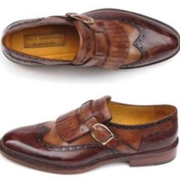 Paul Parkman Mens Wingtip Monkstrap Brogues Brown Hand-Painted Leather Upper With Double Leather Sole (Id#060) 11640