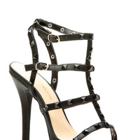 Black Faux Leather Studded Ankle Strap Single Sole Heels