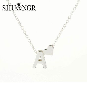 SHUANGR Charms Tiny Silver initial Necklace Letter Choker Initials Name Necklaces Pendant for Women Girl Best Birthday Gift