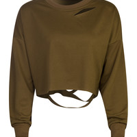Coffee Ripped Drop Shoulder Cropped Sweatshirt