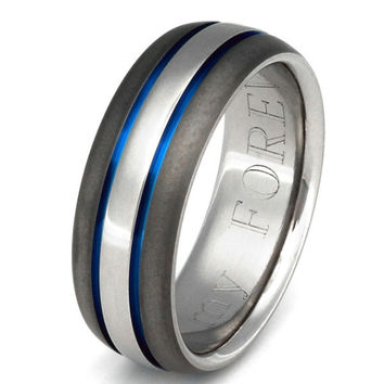 Anium Wedding Band Thin Blue Line Ring Sa22