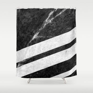 Black Striped Marble Shower Curtain by Nicklas Gustafsson