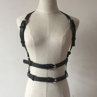 Sexy Handmade Punk Leather Harness belt Two Line Double Row Body Bondage Underbust Cage Belt Suspenders Straps belt