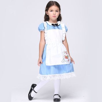 Halloween Cosplay Clothing Princess Dress + Apron 2pcs Performance Dance Alice Kids Dresses For Girls Cotton Costume Child