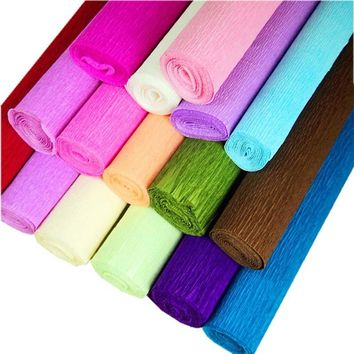 50cm*2.5m Solid Color Crepe Paper Flowers Wrapping Paper DIY Wrinkled Paper Roll Wedding Decoration Birthday Party 7D