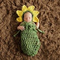 Sunflower Crochet Newborn Infant Hat & Sleeping Bag Photography Prop