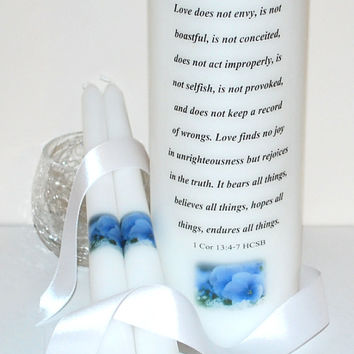 "WU100 WEDDING UNITY Candle - 1 Cor 13:4-7 with Pretty Flowers is transferred into a white 3"" x 9"" Unscented Candle with Matching Tapers"