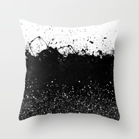 Black and White Splatter Theme Throw Pillow by Cafelab