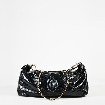 "Chanel Black ""Vinyl"" Patent Leather ""Large Rock and Chain"" Tote Bag"