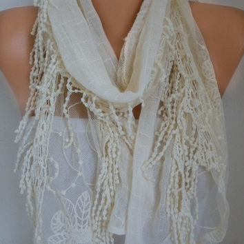 Creamy White Gray Linen Fringe Scarf Spring Summer Shawl Cotton Cowl Gift Ideas for her Women Fashion Accessories Scarves
