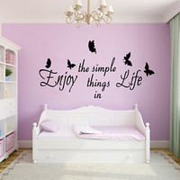 Butterfly Wall Decals Quote About Life Vinyl Decal Sticker Bedroom Decor KG771