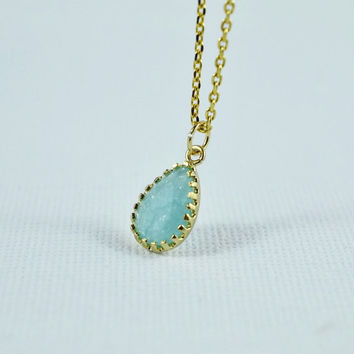 Beautiful Cracked Glass Drop Necklace, Gold Plated Bezel,  Delicate Chain, Everyday Wear, Perfect Gift