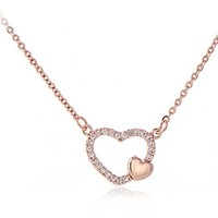 Tiny Sweet Heart Necklace First Sight Love Necklace Simple Love Necklace (Rose gold)