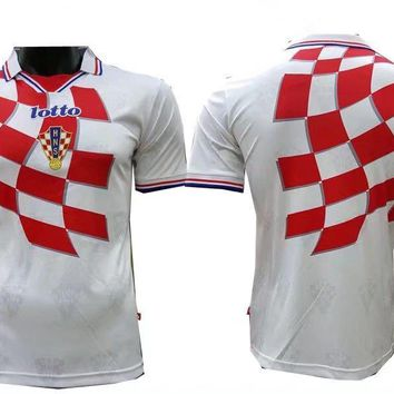 KUYOU Croatia 1998 World Cup Home Men Soccer Retro Jersey Personalized Name and Number