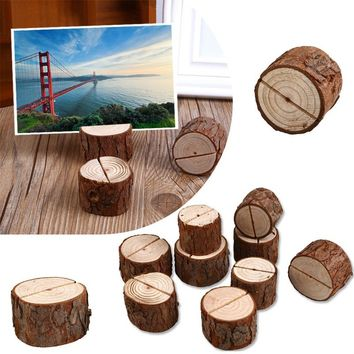 10pcs/lot Natural Wooden Photo Holders Wedding Party Table Number Stand Decoration