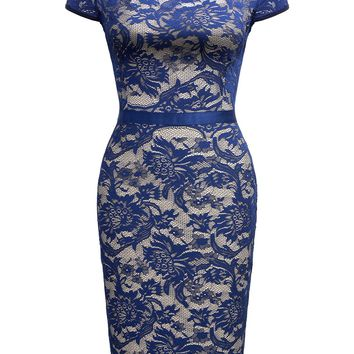 Retro Floral Lace Slim Evening Party Pencil Dress