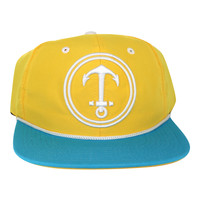 Upside Down Anchor Snapback Hat - YACHT PARTY - Yellow / Aqua
