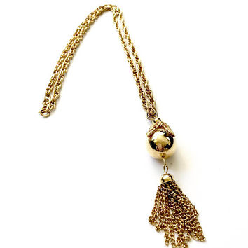Tassel Pendant Necklace, Vintage 1970s, Gold Tone, Floral Filigree Cap, Double Link Rope Chain,  24 Inch, Textured, Twisted, Vintage Jewelry
