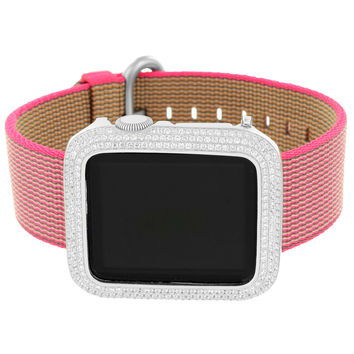 Apple Watch 38mm Stainless Steel Case Pink Nylon Band 1st Generation iOS Touch