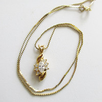 NAPIER  Dainty Gold Tone and Crystal Necklace with Sparkling Crystal and Gold Drop  Signed Jewelry J20