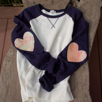 "The ""Dazzle Patch"" Baseball Raglan Sweatshirt w/Heart Sequin Elbow Patch - Heart Elbow Patch"
