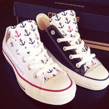 CREYUG7 Custom Converse Low Top Sneakers Anchor Chuck Taylors