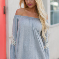 Heather Grey Bell Sleeve Tunic with Crochet Detail