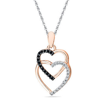 1/8 CT. T.W. Enhanced Black and White Diamond Double Heart Pendant in 10K Rose Gold - Save on Select Styles - Zales