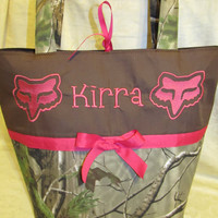 Custom Handmade realtree camo camouflage  hot pink fox inspired appliqued diaper bag/ tote, you choose name