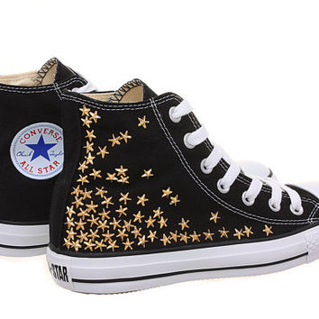 Studded Converse, Converse High Top with Gold Star Studs by CUSTOMDUO on ETSY