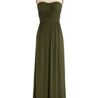 ModCloth Boho Long Strapless Maxi Always and For Evergreen Dress in Moss