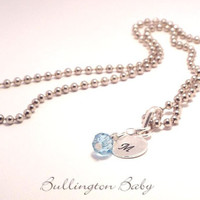 Girls Necklace, Kids Necklace, Initial and Birthstone Necklace, Silver Necklace, Stamped Necklace (B35)