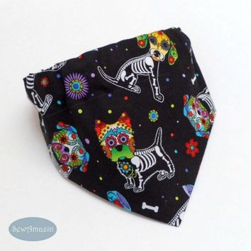 Day of the Dead Sugar Skull Pups Halloween Dog Bandana