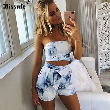 Strapless Two-Piece Blue Floral Print Romper