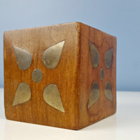 Vintage Wooden Cube Paperweight with Brass Inlay, Vintage Office Decor, Vintage Brass, Desktop Organization, Distressed Vintage, Mid Century