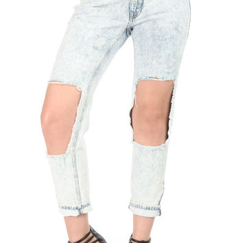 Torn Up Acid Wash Boyfriend Jeans