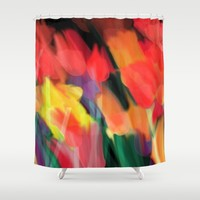 Meadow Flowers At Night Abstract Shower Curtain by Jen Warmuth Art And Design