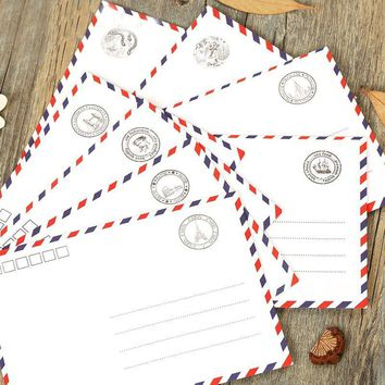 1Pcs Airmail Envelopes White 8 Pattern Creative Novel And Lovely Stationery Romantic Style Gift H0105