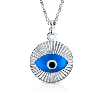 Turkish Spiritual Moving Evil Eye Pendant Necklace 925 Sterling Silver