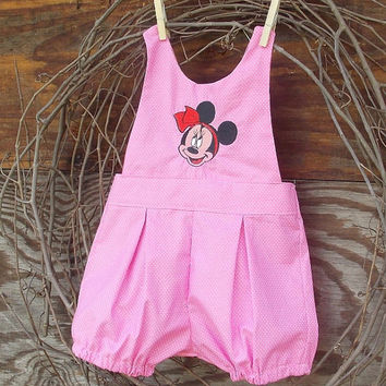 Baby Girl pink Minnie Mouse romper, Embroidered, ties at the back size 6/9 months