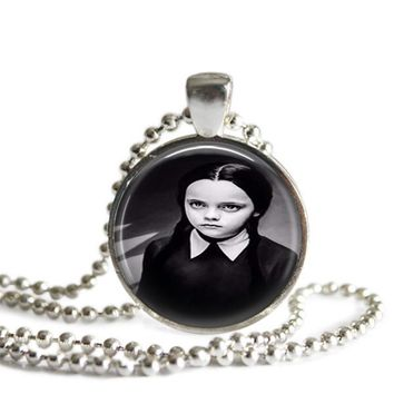 Wednesday Addams Silver Plated Picture Pendant Necklace