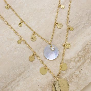 The Pacific's Princess Layered Shell Disc Necklace