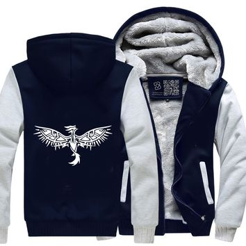 Tribal Phoenix With Eye Wings, Tribal Style Fleece Jacket