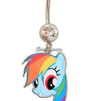 Licensed cool NEW MY LITTLE PONY 14G RAINBOW DASH Curved BARBELL Gem Jewel Navel Belly Ring
