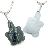 Double Lucky Turtles Best Friends Amulets Black Agate White Quartz Pendant Necklaces